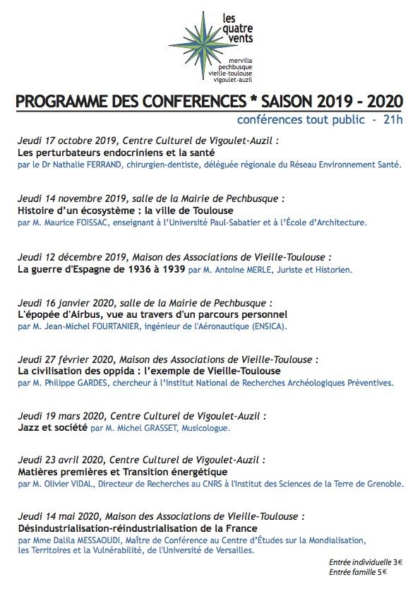 Calendrier Universitaire Paul Sabatier 2019 2020.Les 4 Vents Conferences